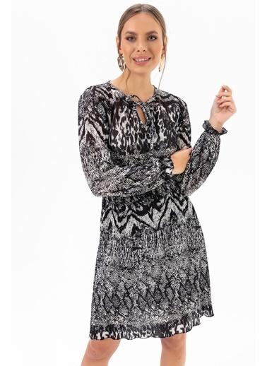 Emjey Yılan Desenli Uzun Kollu Elbise Kahve